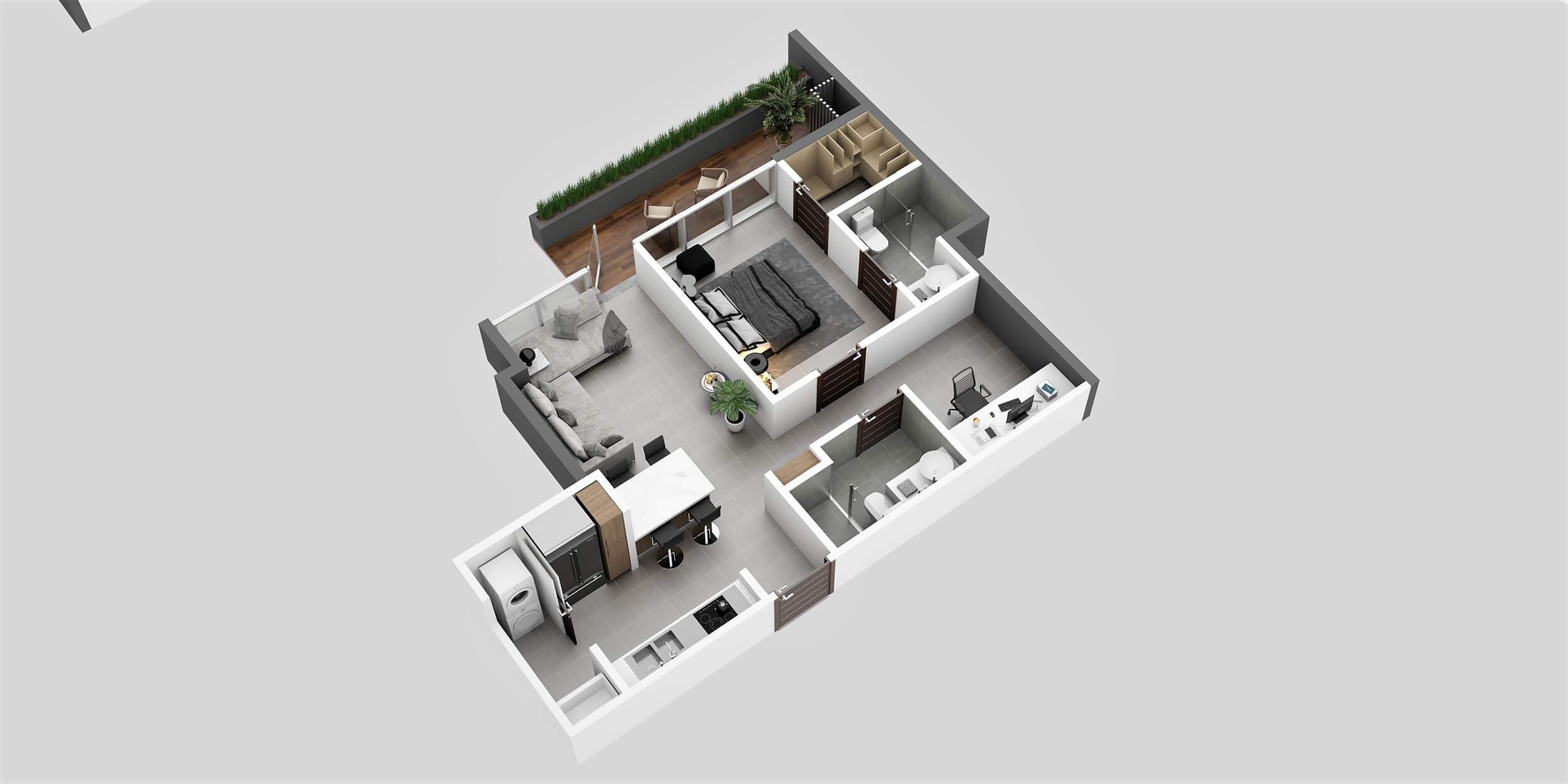 Apartamento Tipo 2A1 Habitación