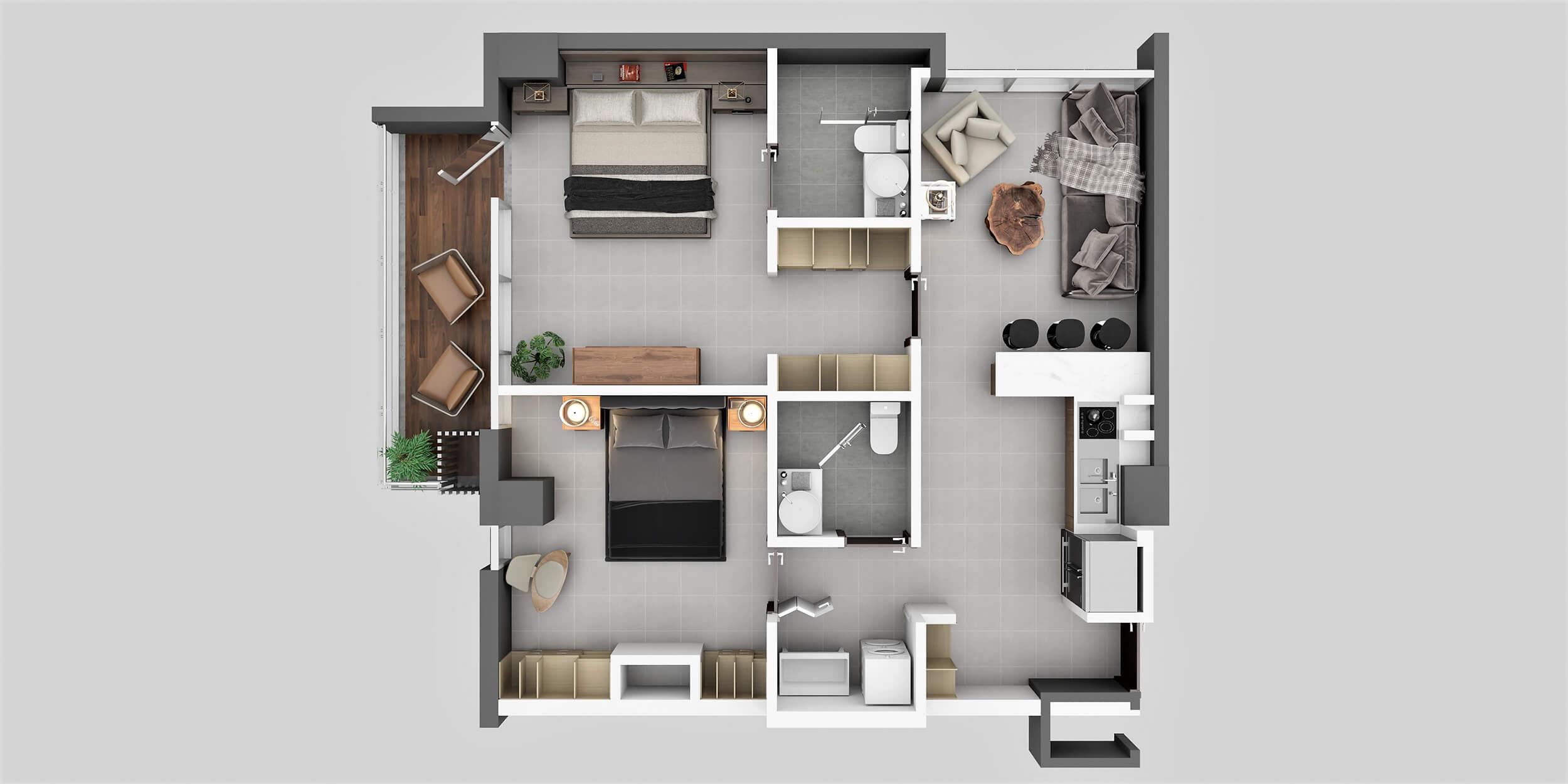 Apartamento Tipo 3A2 Habitaciones