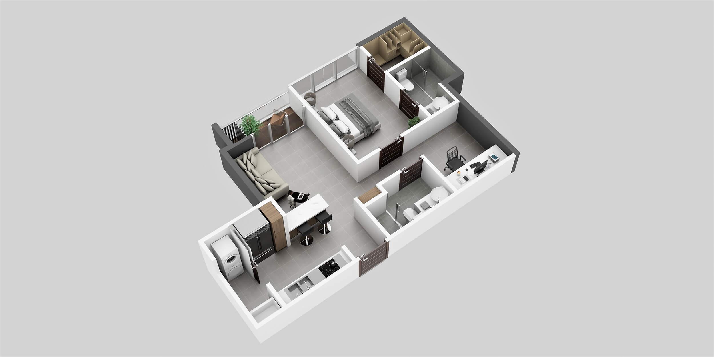 Apartamento Tipo 2B1 Habitación