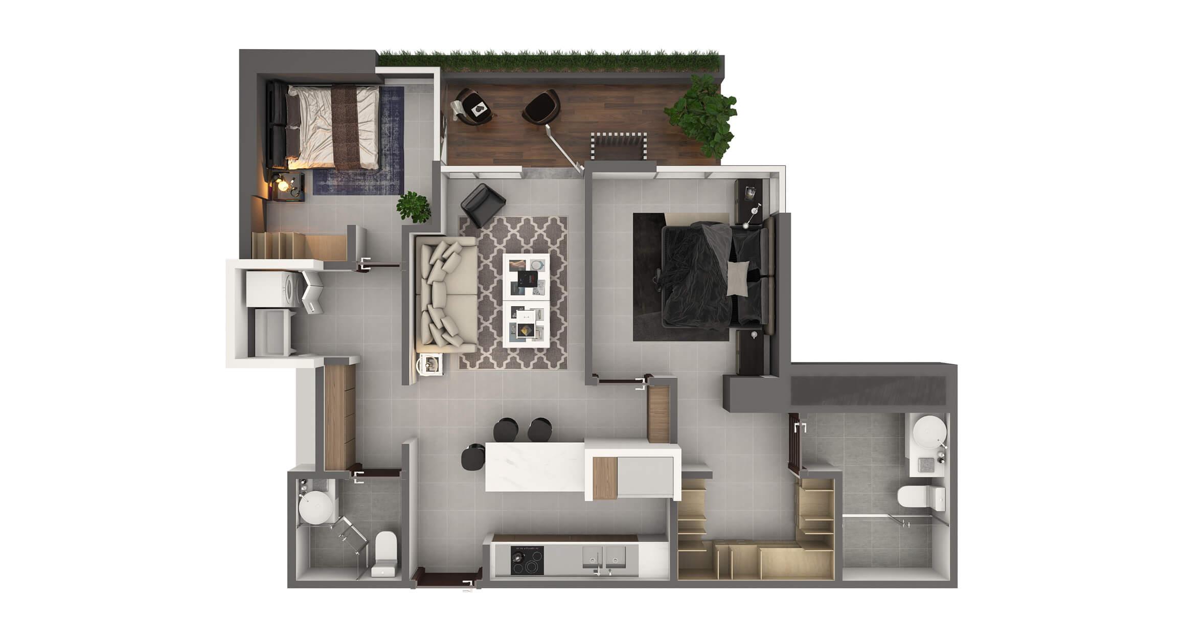 Apartamento Tipo 1A2 Habitaciones