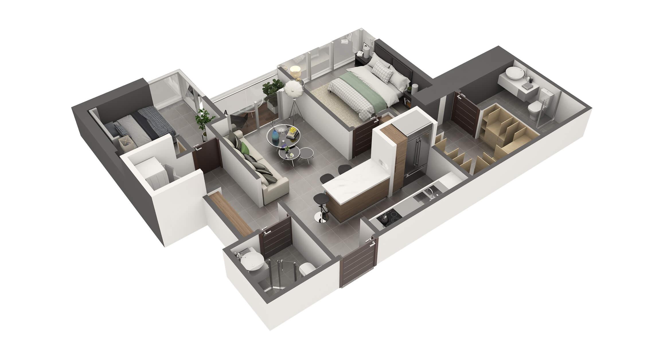 Apartamento Tipo 1B2 Habitaciones